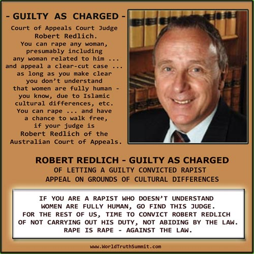 Robert Redlich - Court of Appeals Judge - Australia - rape case - cultural differences