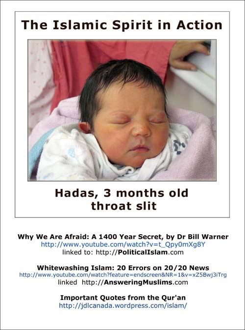 Islamic beliefs, Islam and terrorism - baby girl Hadas